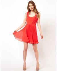 Oasis - Orange Pleat Prom Dress - Lyst