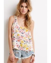Forever 21 | Multicolor Crochet Racerback Floral Print Top | Lyst