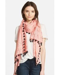 La Fiorentina - Pink Tassel Scarf - Lyst