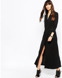 Just Female - Black Sora Evening Dress With Wrap Front - Lyst