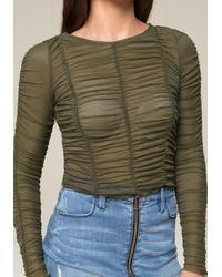 Bebe - Green Shirred Mesh Top - Lyst