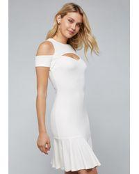 Bebe - White Ruffle Hem Dress - Lyst