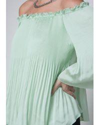 Bebe - Green Pleated Peasant Top - Lyst