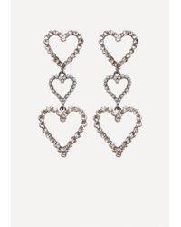 Bebe   Metallic Triple Heart Earrings   Lyst