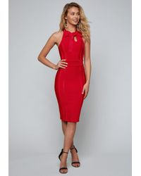 Lyst - Bebe Bow Tie Bandage Dress in Red 9c06fbce2