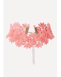 Bebe | Pink Scrolling Lace Choker | Lyst