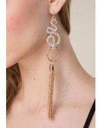 Bebe | Metallic Snake & Tassel Earrings | Lyst