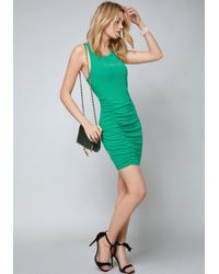 Bebe - Green Logo Mila Ruched Dress - Lyst