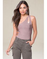 Bebe - Multicolor Knit One Shoulder Bodysuit - Lyst