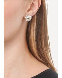 Bebe - Metallic Logo Pave Stud Earrings - Lyst