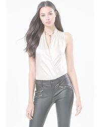 Bebe - White Silk Sleeveless Bodysuit - Lyst