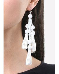 Bebe   White Bead & Tassel Earrings   Lyst