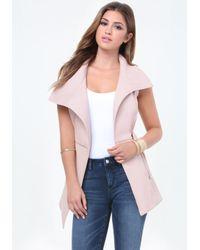 Bebe | Pink Faux Leather Long Vest | Lyst