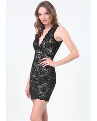 Bebe - Black Scallop Lace Plunge Dress - Lyst