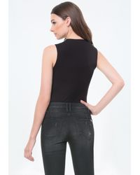 Bebe - Black Paulina Wrap Bodysuit - Lyst