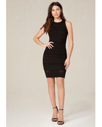 Bebe | Black Multi-texture Sweater Dress | Lyst