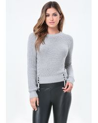 Bebe | Gray Ribbed Lace Up Sweater | Lyst