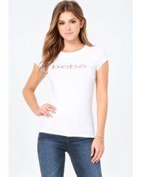 Bebe - White Sequin Logo Tee - Lyst