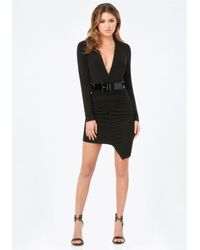 Bebe | Black Rachel Deep V Shirred Dress | Lyst