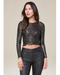 Bebe - Gray Foil Knit Ruched Top - Lyst