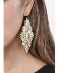 Bebe - Metallic Leaf Chandelier Earrings - Lyst