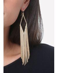 Bebe - Metallic Snake Chain Fringe Earrings - Lyst