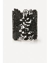 Bebe - Black Flower Cuff Bracelet - Lyst