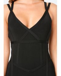Bebe - Black Banded Catsuit - Lyst
