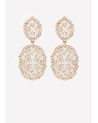 Bebe | Metallic Crystal Filigree Earrings | Lyst