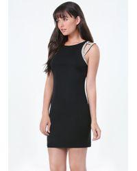 Bebe - Black Embellished Shoulder Dress - Lyst
