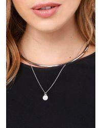 Bebe - Metallic Charm Collar Necklace - Lyst
