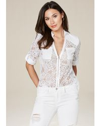 Bebe | White Layla Zip Front Top | Lyst