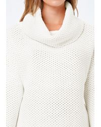 Bebe - White Cowl Neck Pullover Sweater - Lyst
