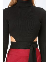 Bebe - Black Turtleneck Crop Sweater - Lyst