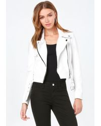Bebe | White Faux Leather Moto Jacket | Lyst