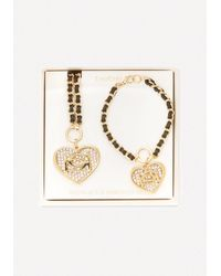 Bebe | Metallic Necklace & Bracelet Set | Lyst