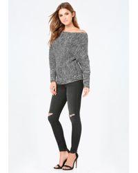 Bebe - Gray Dolman Sleeve Sweater - Lyst