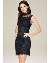 Bebe - Blue Lilah Lace Mock Neck Dress - Lyst