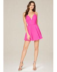 Bebe | Pink Double Strap Skater Dress | Lyst