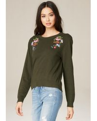 Bebe | Green Embroidered Flower Sweater | Lyst