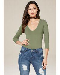 Bebe   Green Deep V-neck Bodysuit   Lyst