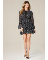 Bebe | Black Polka Dot Tiered Dress | Lyst