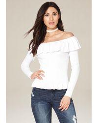 Bebe   White Spring Ruffle Sweater   Lyst