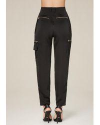 Bebe   Black Satin High Waist Trousers   Lyst