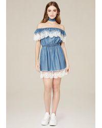 Bebe   Blue Crochet Trim Chambray Dress   Lyst