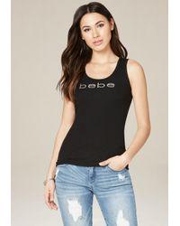 Bebe | Black Logo Back Lace Up Tank | Lyst