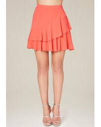 Bebe | Pink Layered Flounce Skirt | Lyst