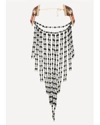 Bebe | Black Fringe Embroidered Choker | Lyst