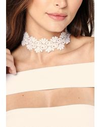 Bebe - White Scroll & Frond Lace Choker - Lyst