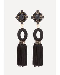 Bebe | Black Stone & Tassel Earrings | Lyst